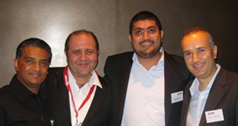 Jamal Qaffaf with guests at the party