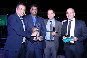 Amit Roy and Mohammed Abid Ali of Paladion receiving the award from Ovanes Mikhaylov and Ashraf Abdelazim of Kaspersky Lab (L to R)