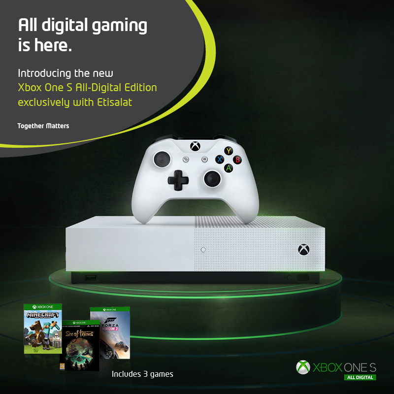 Etisalat offers Microsoft's latest Xbox One S all-digital edition in UAE