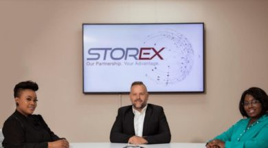Jan Beukes, founder and CEO, StorEx (center)